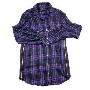 True religion plaid button shirt gold detail